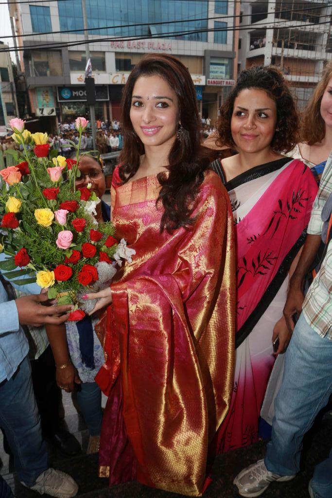 Tamanna In Silk Saree Photo At Women World Showroom Himayat Nagar, Hyderabad