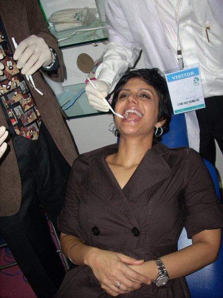 Mandira Bedi Dental Checkup At World Dental Show Event