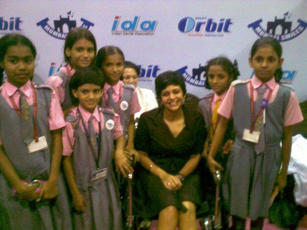 Mandira Bedi With Kids World Dental Show Event