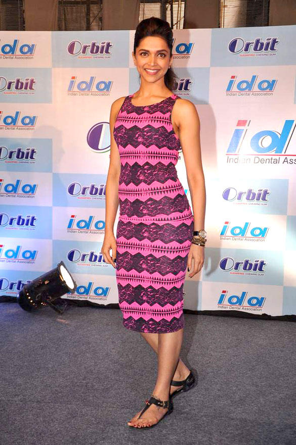 Deepika Padukone in A Pink Topshop Aztec Print Body Con Dress at IDA-Orbit 2012 Press Meet