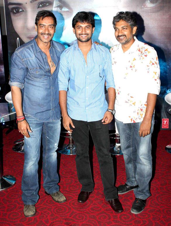 Ajay,Nani And S.S. Rajamouli At The Special Screening Of Makkhi