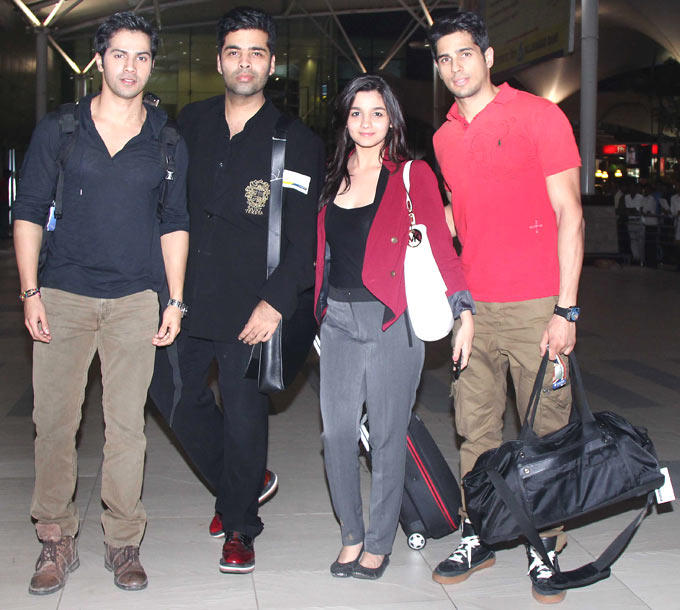 Karan Johar With SOTY Team Spotted At Airport