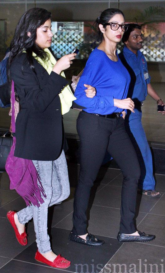 Sridevi With Her Daughter Jhanvi At Airport