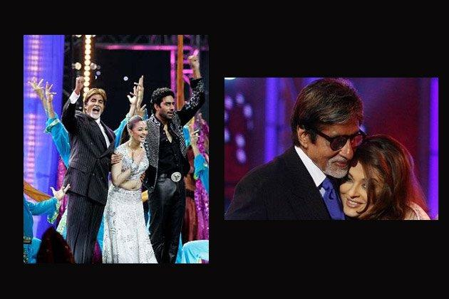 Amitabh With His Daughter In Law Aishwarya Smiling Still