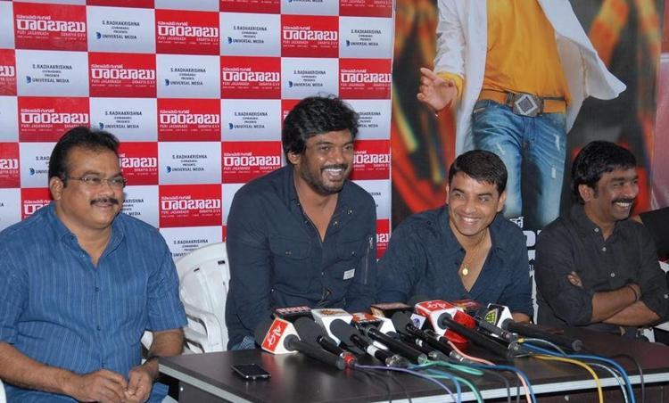Puri Jagannath,DVV Danayya And Dil Raju Spotted At The Press Meet Of Cameraman Ganga Tho Rambabu Movie