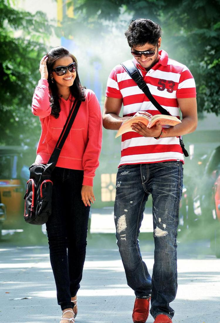 Prince And Sri Divya Smiling Still From Bus Stop Movie