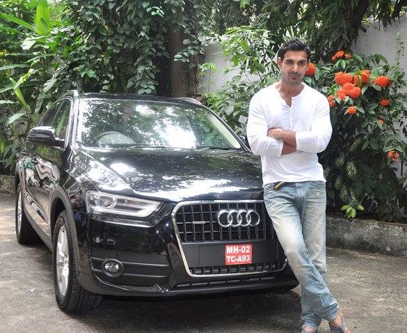 John Abraham Strikes A Pose With Audi Q Life Car