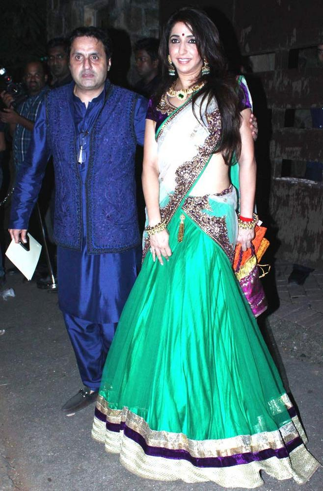 Sunil With Wife Krishika Spotted At At Saif And Kareena Sangeet Ceremony