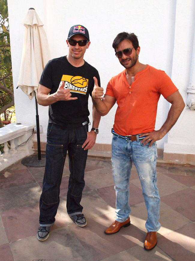Saif With Chris Pfeiffer In Red Tshirt And Blue Jeans