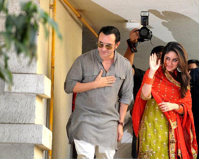 Saif And Kareena Both Are Greets Their Fans