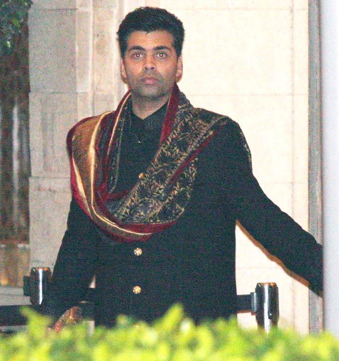 Karan In Black Suit At Kareena And Saif  Nikaah
