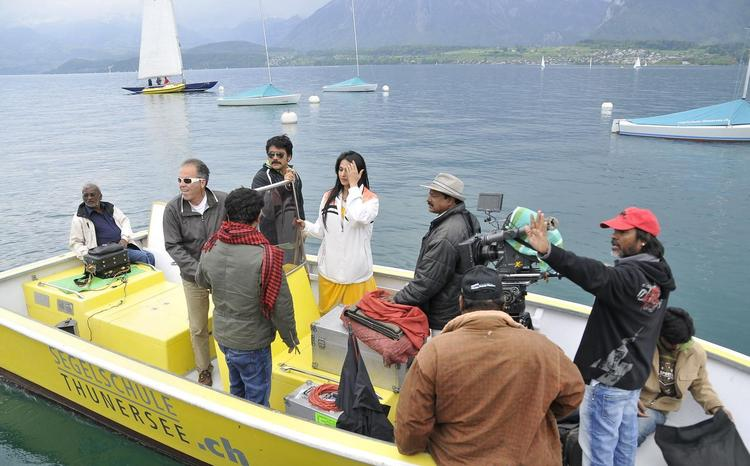 Nagarjuna And Anushka In A Boat On The Sets Of Damarukam