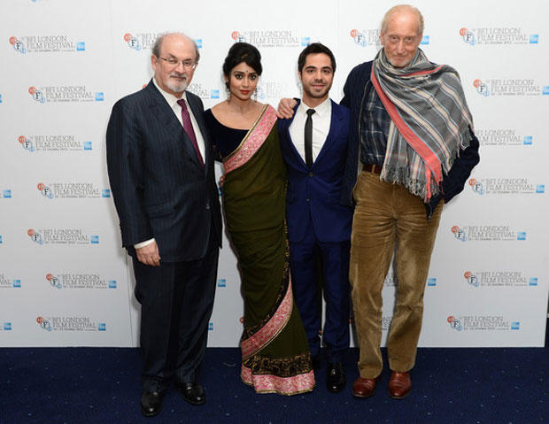 Salman Rushdie,Shriya Saran,Satya Bhabha And Charles Dance Clicked A Still At The Premiere Of Midnight's Children