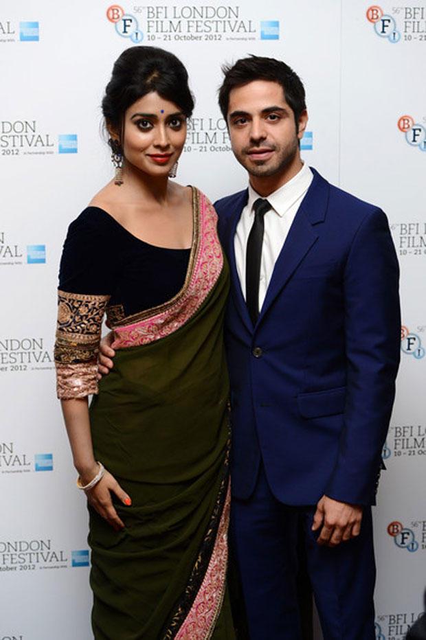 Shriya Saran And Satya Bhabha Cool Pic At 56th BFI London Film Festival Premiere