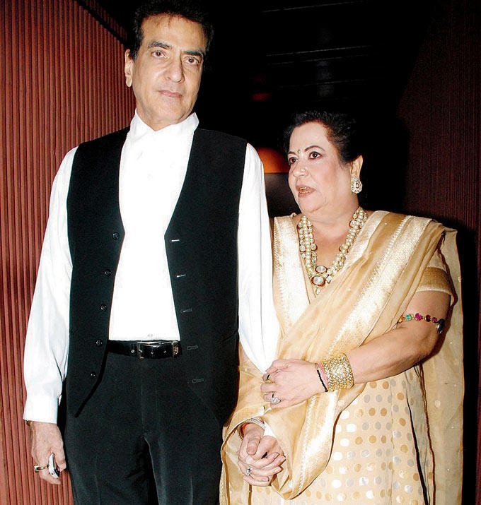 Jeetendra With Wife Shobha Wearing Golden Chudidar Cool Pic