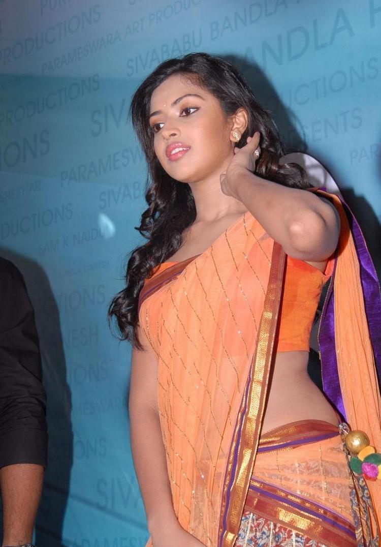 Amala Paul In Half Saree Photos At Iddarammayilatho Opening