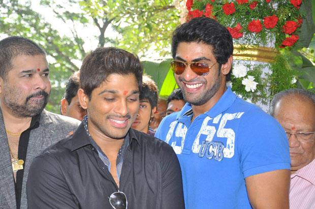 Allu With Rana Smiling Still At Iddarammailatho Movie Opening Event