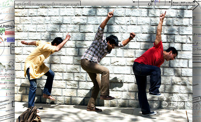 Aamir,Madhavan And Sharman Song Still From 3 Idiots