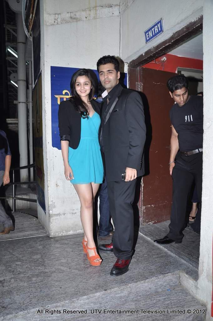 Alia Bhatt And Karan Johar Pose For Camera At Student Of The Year Screening