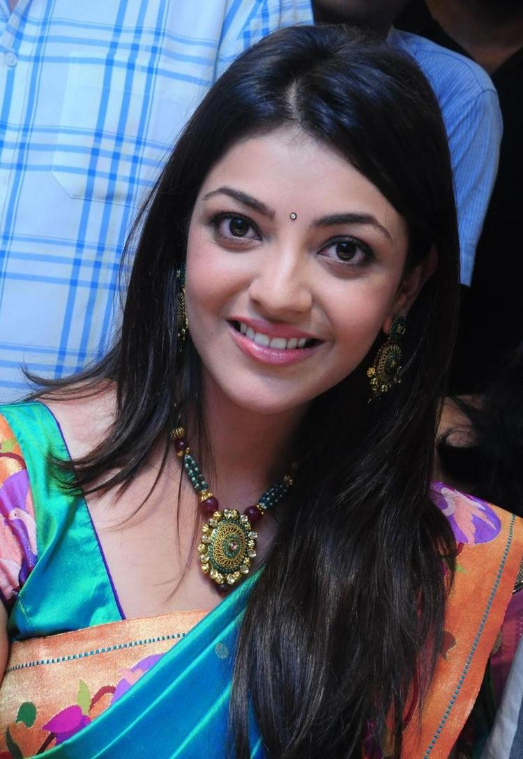 Kajal Agarwal Nice Look With Cute Smiling Still