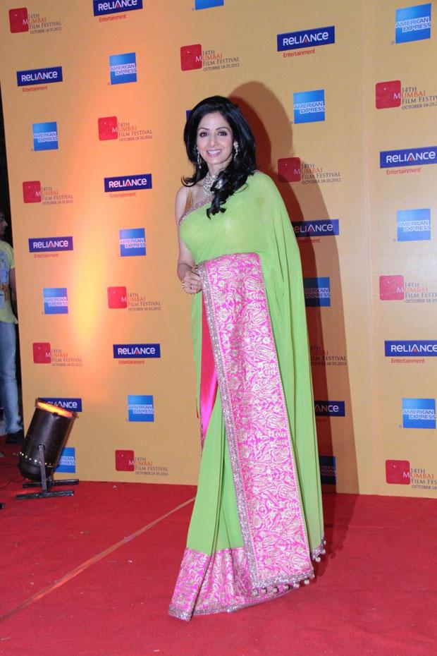 Sridevi Kapoor Pose For Camera At 14th Mumbai Film Festival Opening Ceremony