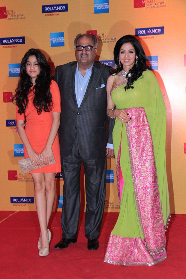 Sridevi,Boney And Jhanvi Snapped At 14th Mumbai Film Festival Opening Ceremony