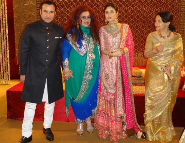 Kareena,Saif And Sharmila Glamour Still At Dawat E Walima