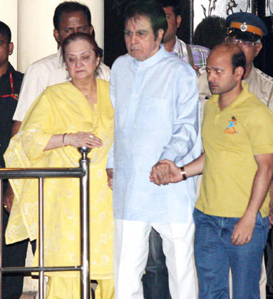 Dilip With Wife Saira Arrived To Pay Their Last Respects To Yash Chopra In Yash Raj Studio