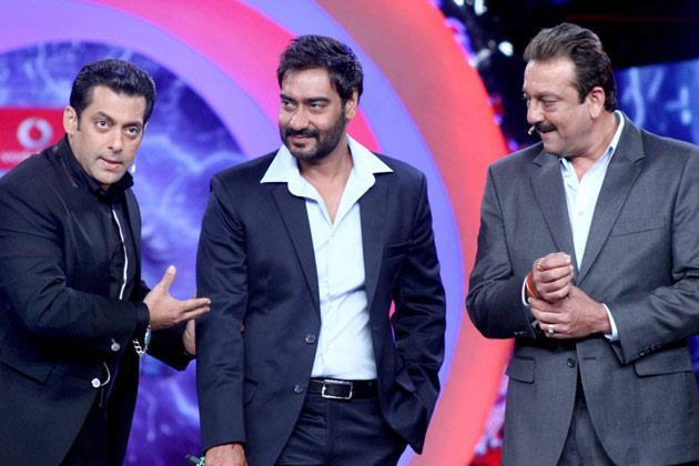Salman,Sanjay And Ajay Still During Promo Of SOS