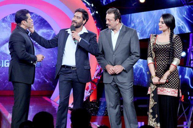 Salman,Sanjay,Ajay And Sonakshi Still At The Sets Of Bigg Boss In Lonavala.