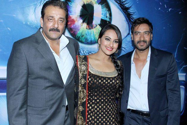 Sanjay,Sonakshi And Ajay Pose To The Camera During Promo Of SOS
