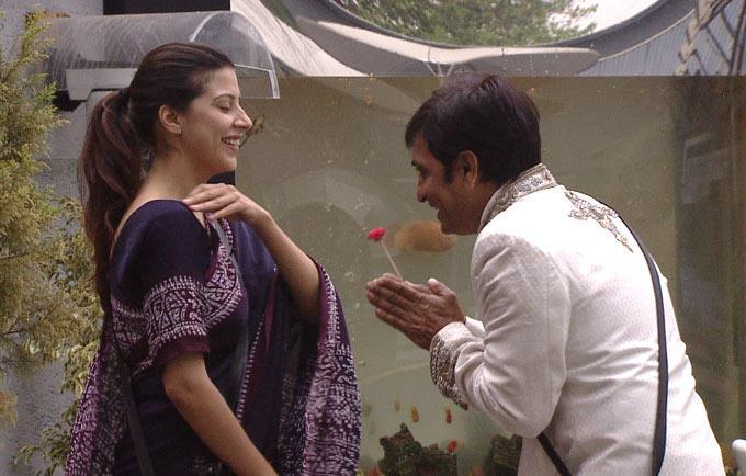 Rajeev And Karishma In The Garden Of Bigg Boss