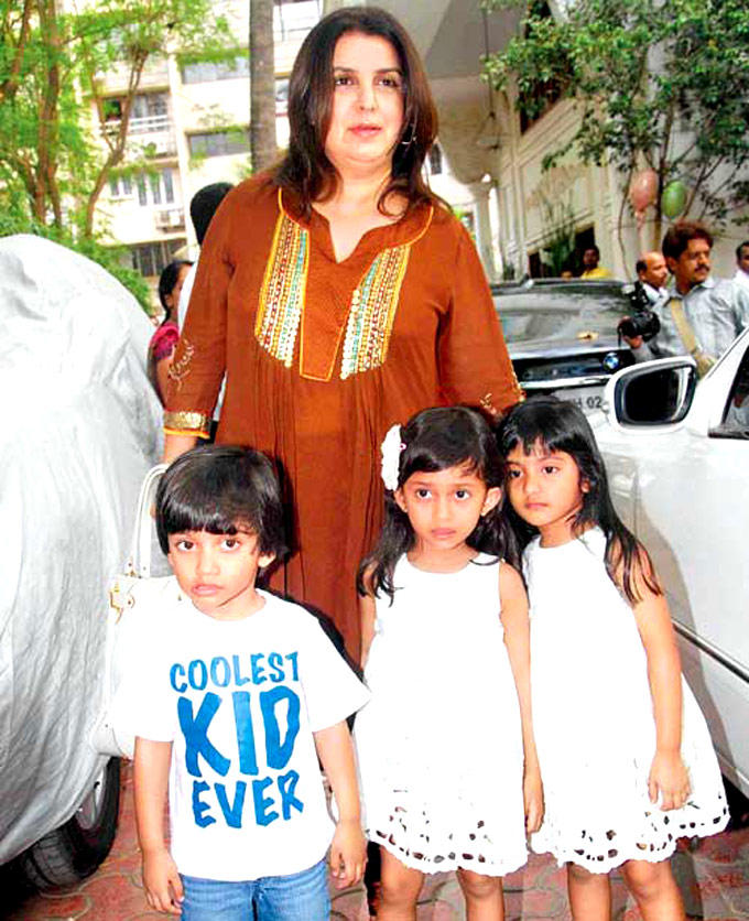 Farah Khan With Son And Daughter Czar,Diva,Anya Still