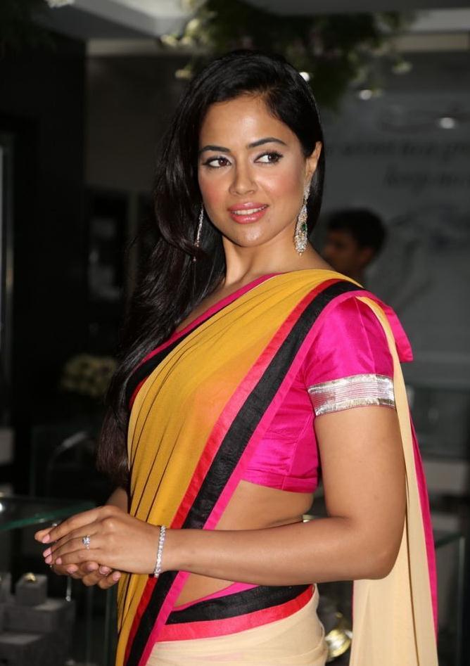 Sameera Hot Gorgeous In Yellow Pink Saree Pic
