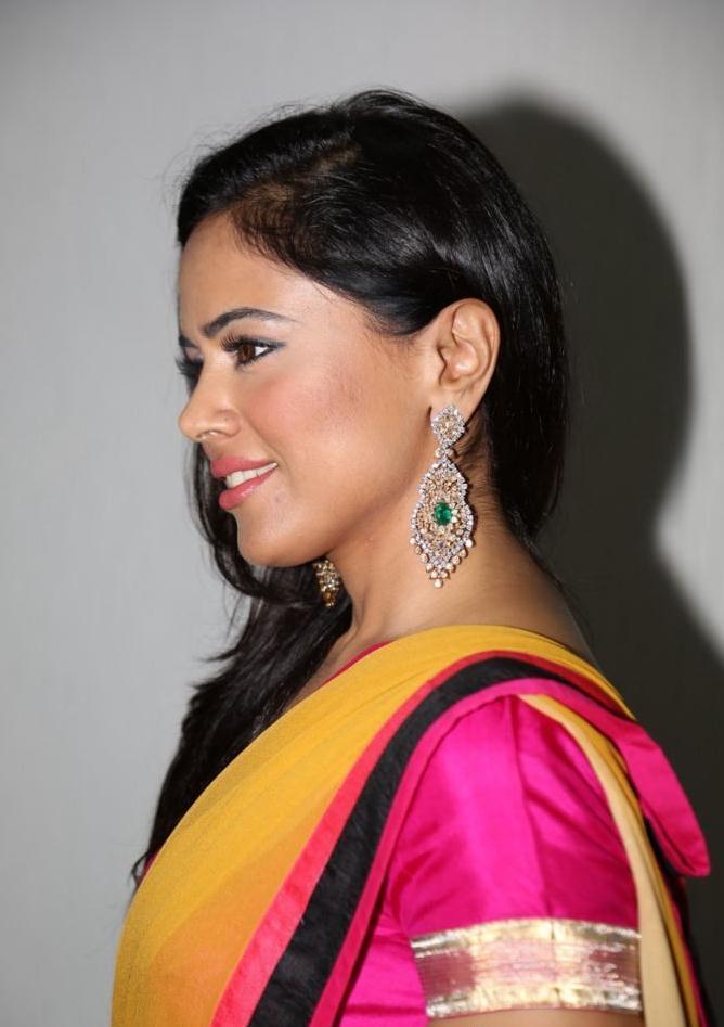 Sameera Reddy In Saree Hot Looking Stills