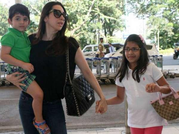 Karisma Kapoor With Her Kids Leave For Pataudi
