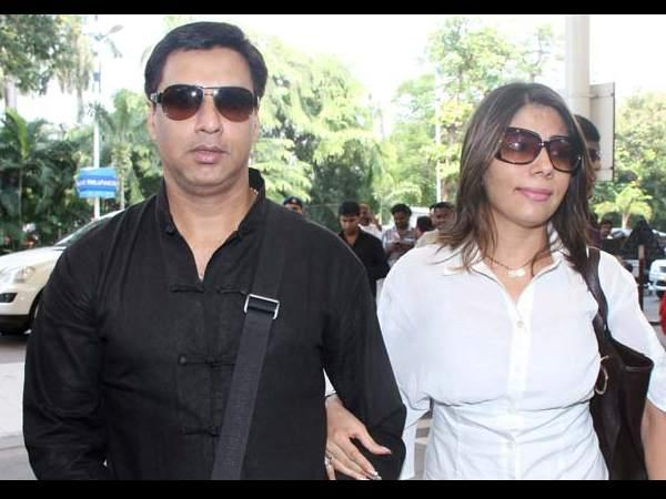 Madhur And His Wife Renu At Mumbai Airport