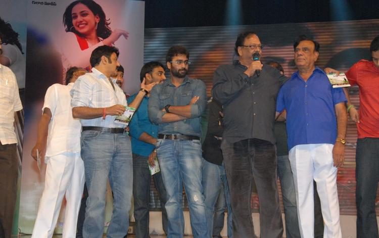 Nara And Balakrishna Spotted At The Audio Release Of Okkadine