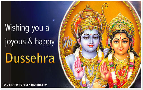 Lord Ram And Sita Blessing Photo In Dussehra Greeting Card