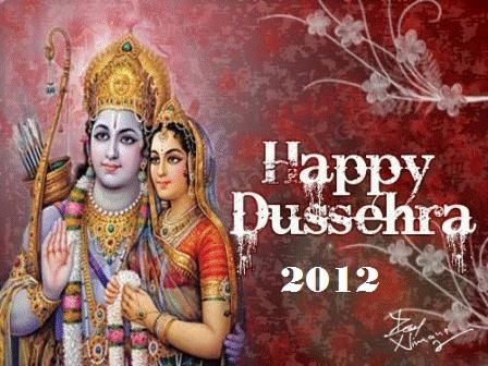 Lord Ram And Sita Photo In Dussehra Greeting Card