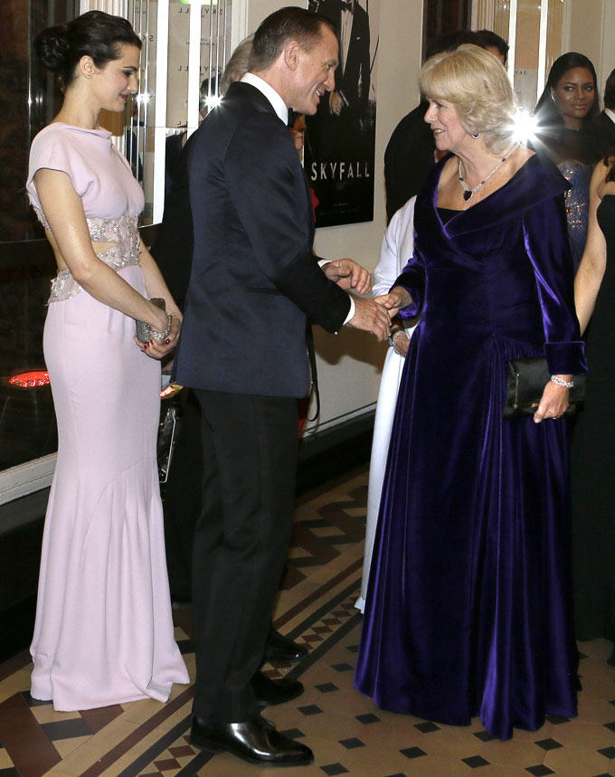 Duchess Of Cornwall Shake Hands With Daniel Spotted At Royal Premiere Of Skyfall