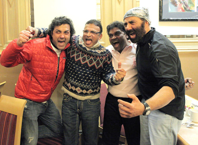 Bobby,Annu,Johnny And Sunny Strike A Funny Pose At Sunny Deol Birthday Bash