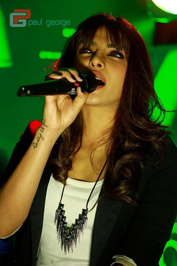 Priyanka Chopra Singing Pose Still At Biere Club In Bangalore