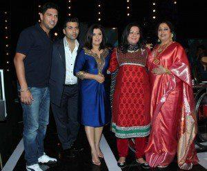 Yuvraj,Karan,Farah,Kirron And Shabnam At India's Got Talent Season 4