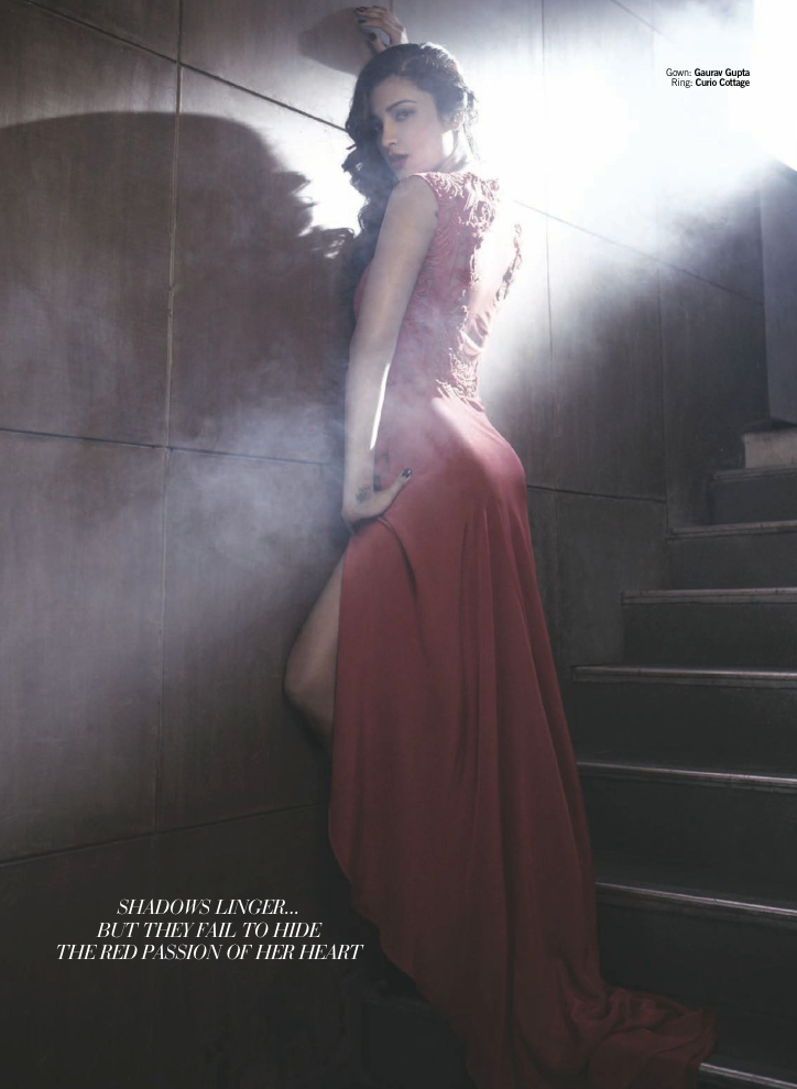 Shruthi Spicy Pose Photo Shoot In Red Dress For November Filmfare Magazine
