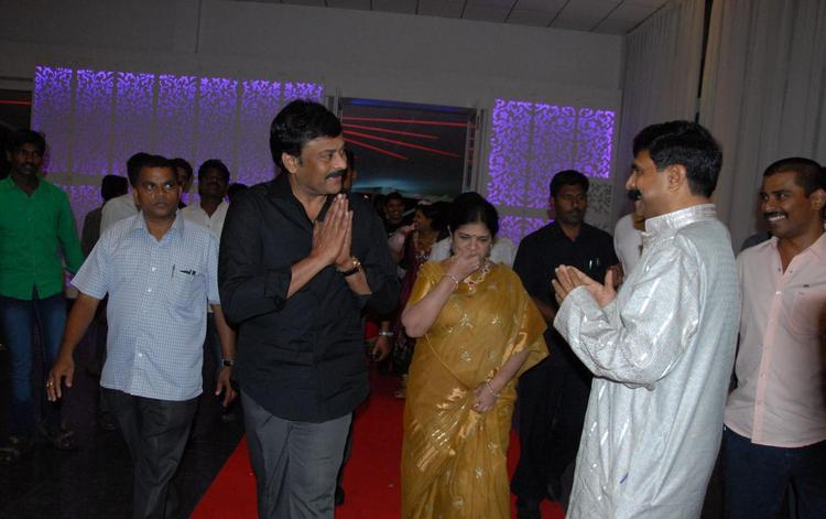 Chiranjeevi Greets His Fans At Brahmanandam Son Goutham Marriage