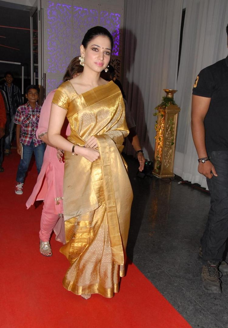 Tamanna Gorgeous Look In Saree At Brahmanandam Son Goutham Marriage