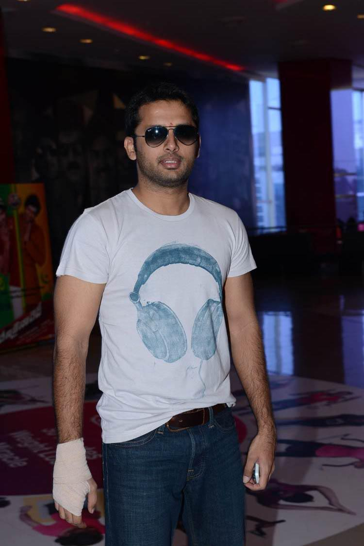 Nitin Stylish Look Pose At Denikaina Ready Premiere Show
