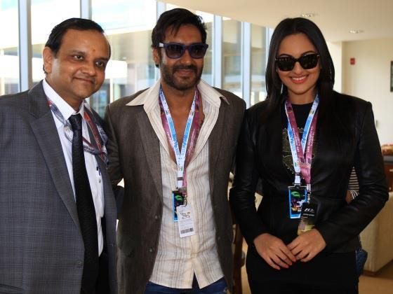Ajay And Sonakshi With Manoj Gaur At Buddh International Circuit