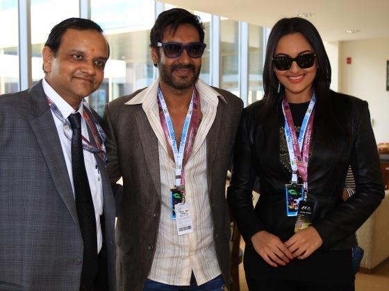 Ajay And Sonakshi With Manoj Gaur At Buddh International Circuit